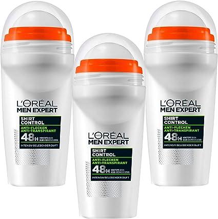 Loreal Men Expert Camisa Control Anti Transpirant Desodorante Roll On 3x 50ml (3er Pack): Amazon.es: Belleza