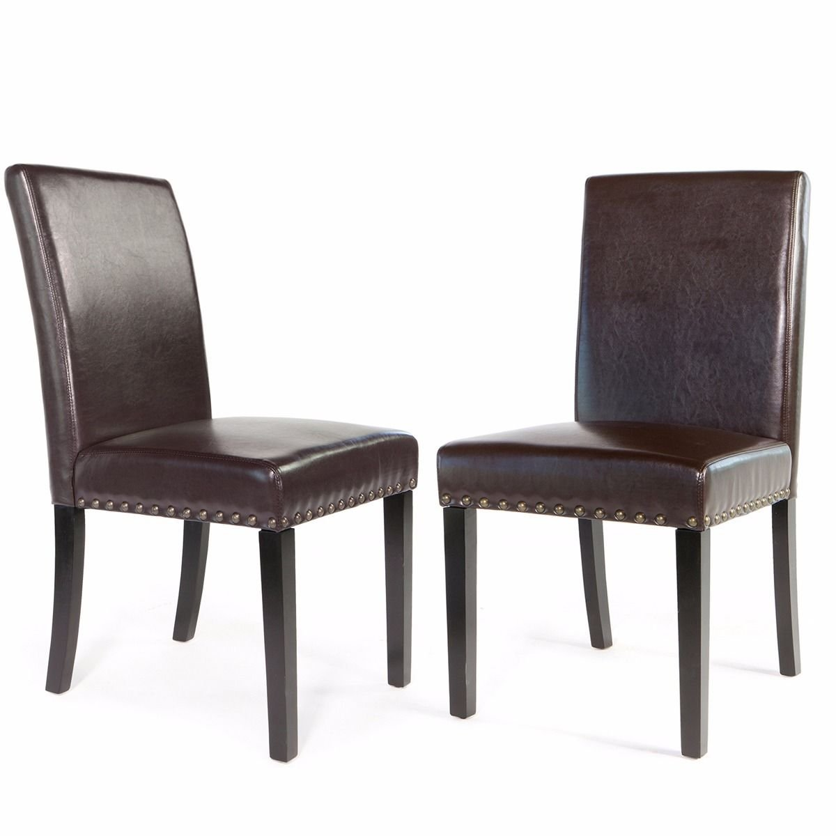Barton Set of 2 Parson Faux Leather Dining Chair with Nailhead Trim Padded Seating Backrest w Wooden Legs, Brown