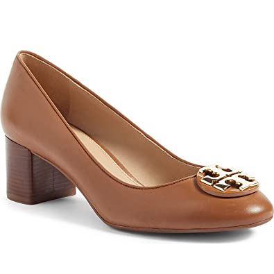 576761419db Tory Burch Womens Janey 50 mm Pump Calf Leather Royal Tan 7.5 ...
