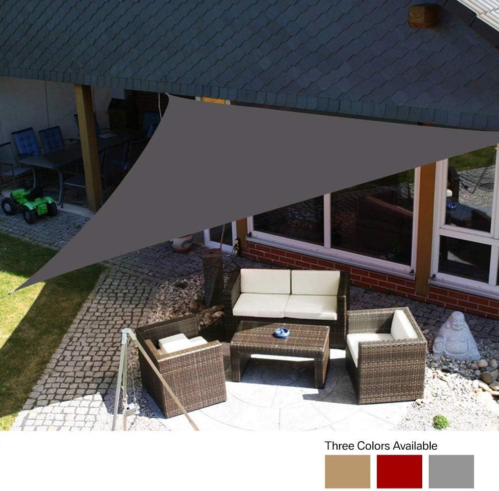 Yeahmart Sun Shade Sail Impermeable Jardín al Aire Libre Patio Fiesta Protector Solar Awing 3x3x3m Triángulo Toldo 98% Bloque UV con Cuerda Libre (Color Gris): Amazon.es: Jardín