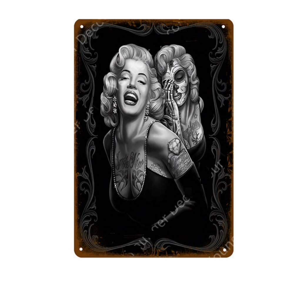 KUSTOM FACTORY Targa in Acciaio Marilyn Monroe Rock /& Tattoo