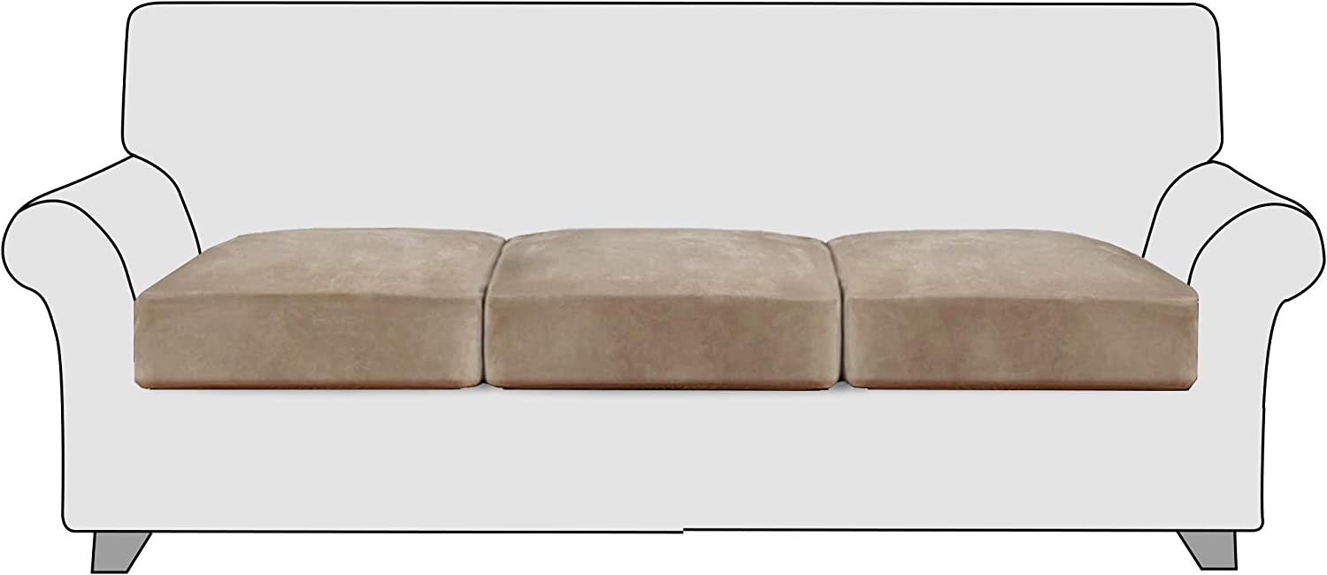 StangH Stretch Couch Cushion Covers - Soft Flexibility Luxury Velvet Sofa Cushion Covers Sofa Seat Slipcovers Replacement with Elastic Bottom for Chair T-Cushion Couch, (3 Packs, Taupe)