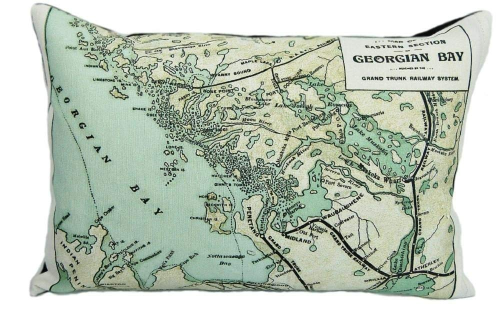 Georgian Bay Vintage Map Pillow