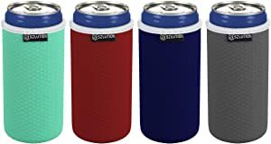 Slim Can Coolers Sleeves Premium Texture Neoprene Beer Bottle can Holder Cover 12 oz Slim Sleeves Skinny Can Coolie Hide a Beer Can Cover Tall Skinny Can Sleeves (4 Pack)