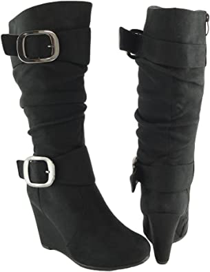 Women Knee High Faux Suede Wedge Boots