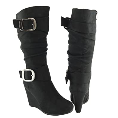 f02a0a93010 Women Knee High Faux Suede Wedge Boots Black Size 8.5 buckles shoes
