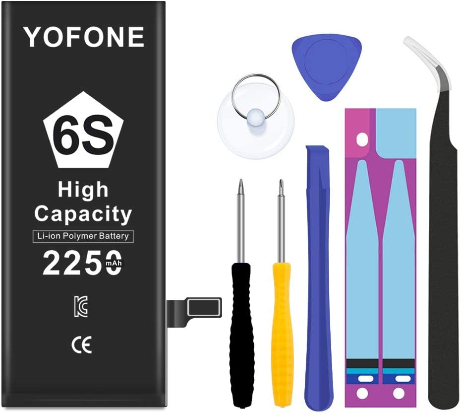 YOFONE Battery Replacement for iPhone 6S with Complete Repair Tool Kit, High Capacity 0 Cycle 2250mAh Batteries[18-Month Warranty]