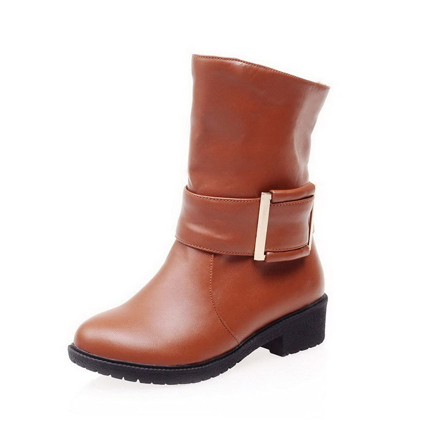 VogueZone009 Women's Solid Low-Heels Round Closed Toe PU Pull-on Boots