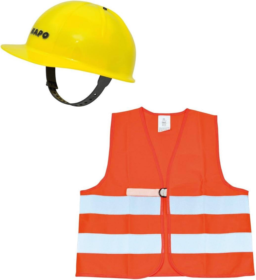 solini Bauhelm /& Warnweste ab 3 Jahren //gelb//orange Kinder Spielzeug Verkleidung