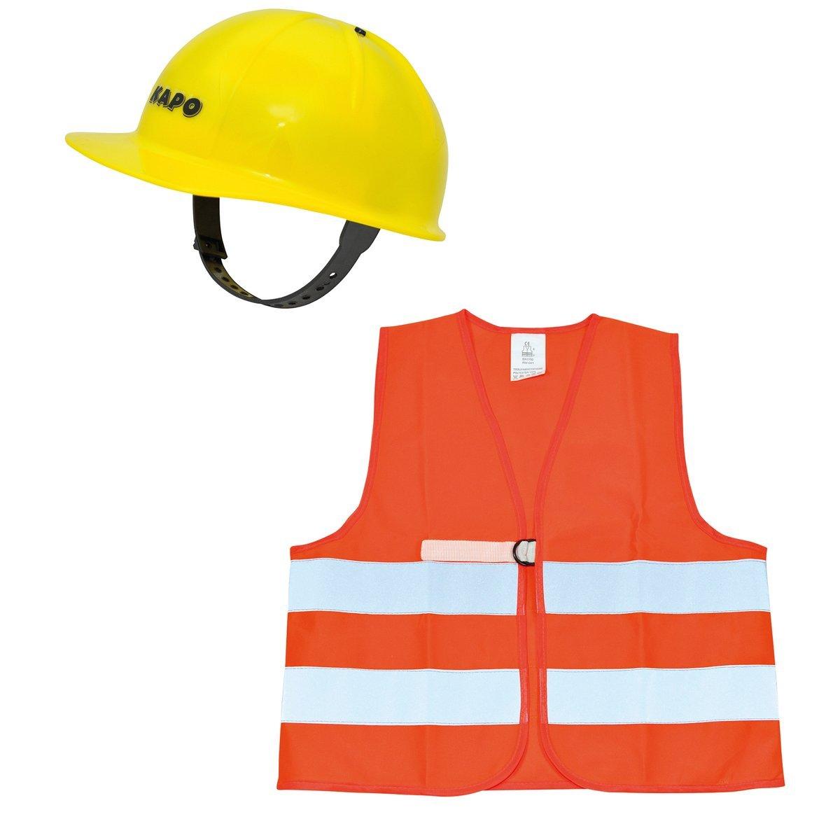 SOLINI Le casque de chantier + le gilet de sécurité costume enfant carnaval, jaune/orange SOLINI Le casque de chantier + le gilet de sécurité costume enfant carnaval