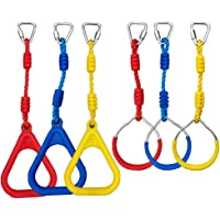 CARAPEAK Ninja Line Accessories, 6 Obstacles, 3 Circular and 3 Triangular Colorful Gym Rings