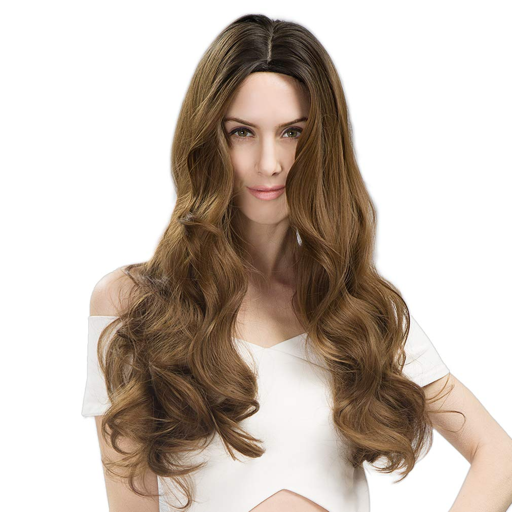 SEIKEA Long Wavy Natrual Wig Brown Ombre Cosplay Costume for Women Middle Part