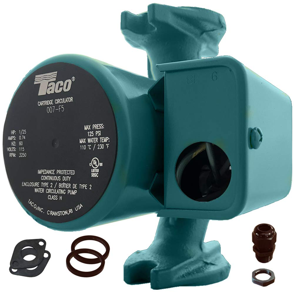 Taco 007-F5 Cast Iron Circulator, 1/25 HP Pump with Universal Pump Flange Gaskets and Wire Gland by Taco