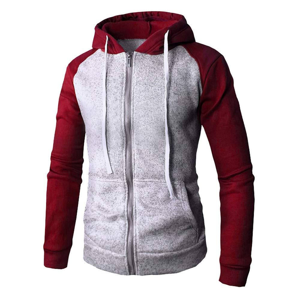 HHei_K Mens Autumn Winter Casual Slim Long Sleeve Patchwork Full Zip Pocket Drawstring Hoodies Jacket Coat