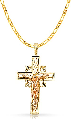 14K Two Tone Gold Religious Crucifix Charm Pendant with 0.8mm Box Chain Necklace