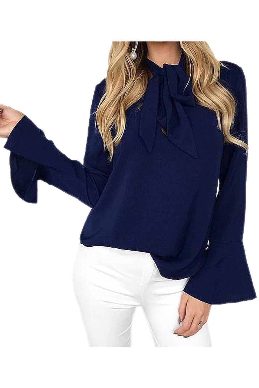 YACUN Women's Long Sleeve Bow T-shirt Bell Sleeve Tops CADY17216