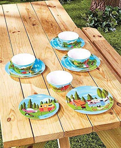 Happy Camper - Tablero de mesa (12 piezas) Vajilla: Amazon.es: Hogar