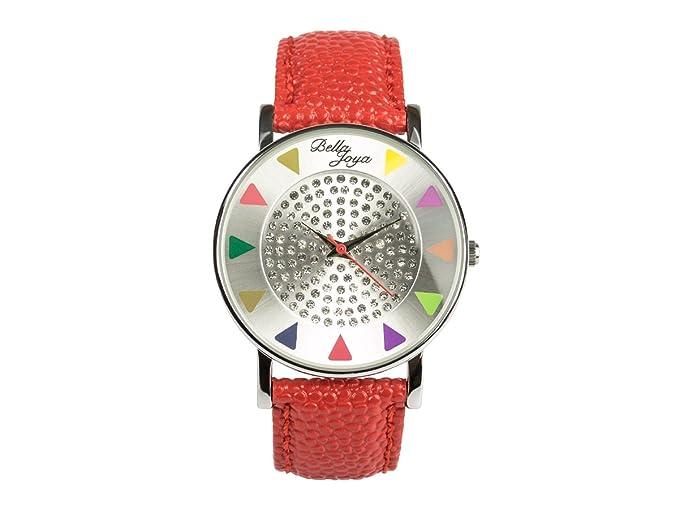 Bella joya Ibiza Plata, elegante Trend Fashion de reloj, correa de piel auténtica Color Rojo: Amazon.es: Relojes