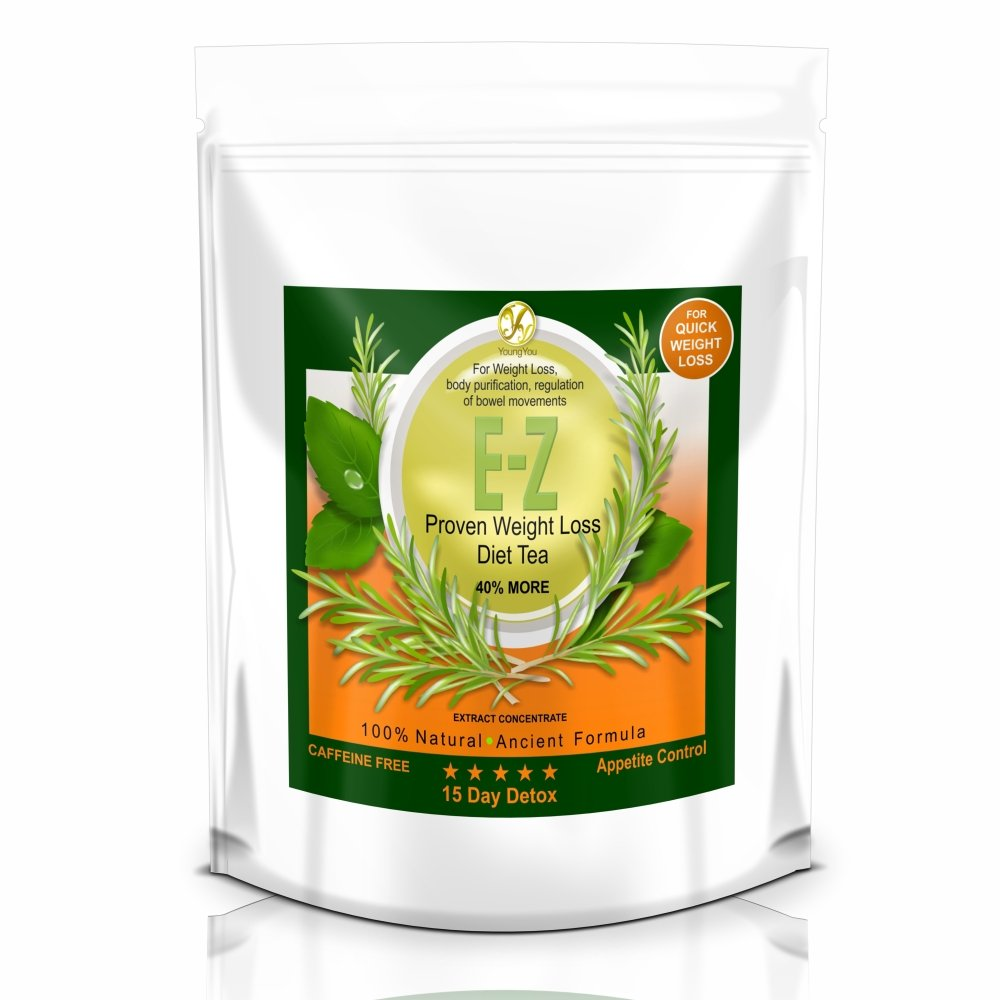 15 Day E-Z Weight Loss Detox Tea – Diet Cleanse for Slimming, Appetite Control, Bloating, Body Fat Burner, Flat Belly – Natural & Strong Herbal Cleansing & Detoxing for Men & Women