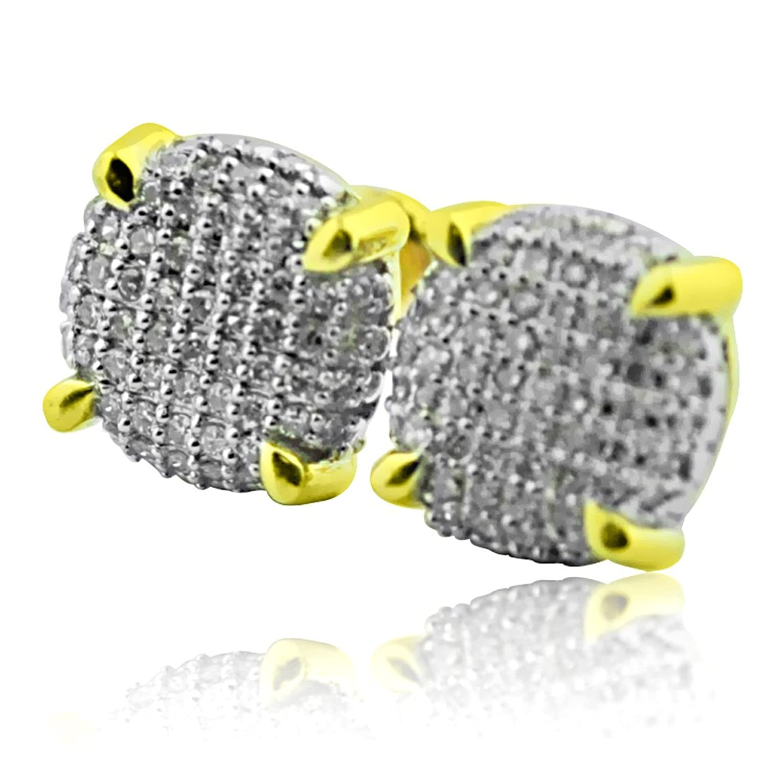 0.35ct Diamond Cube Earrings 10K Yellow Gold 9mm Wide Screw Back Round