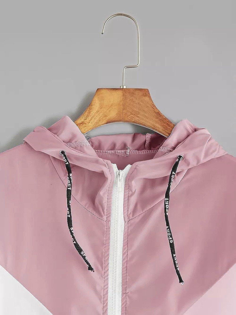 iLH Women Patchwork Thin Hooded Zipper Pockets Sport Coat Long Sleeve Running Outwear