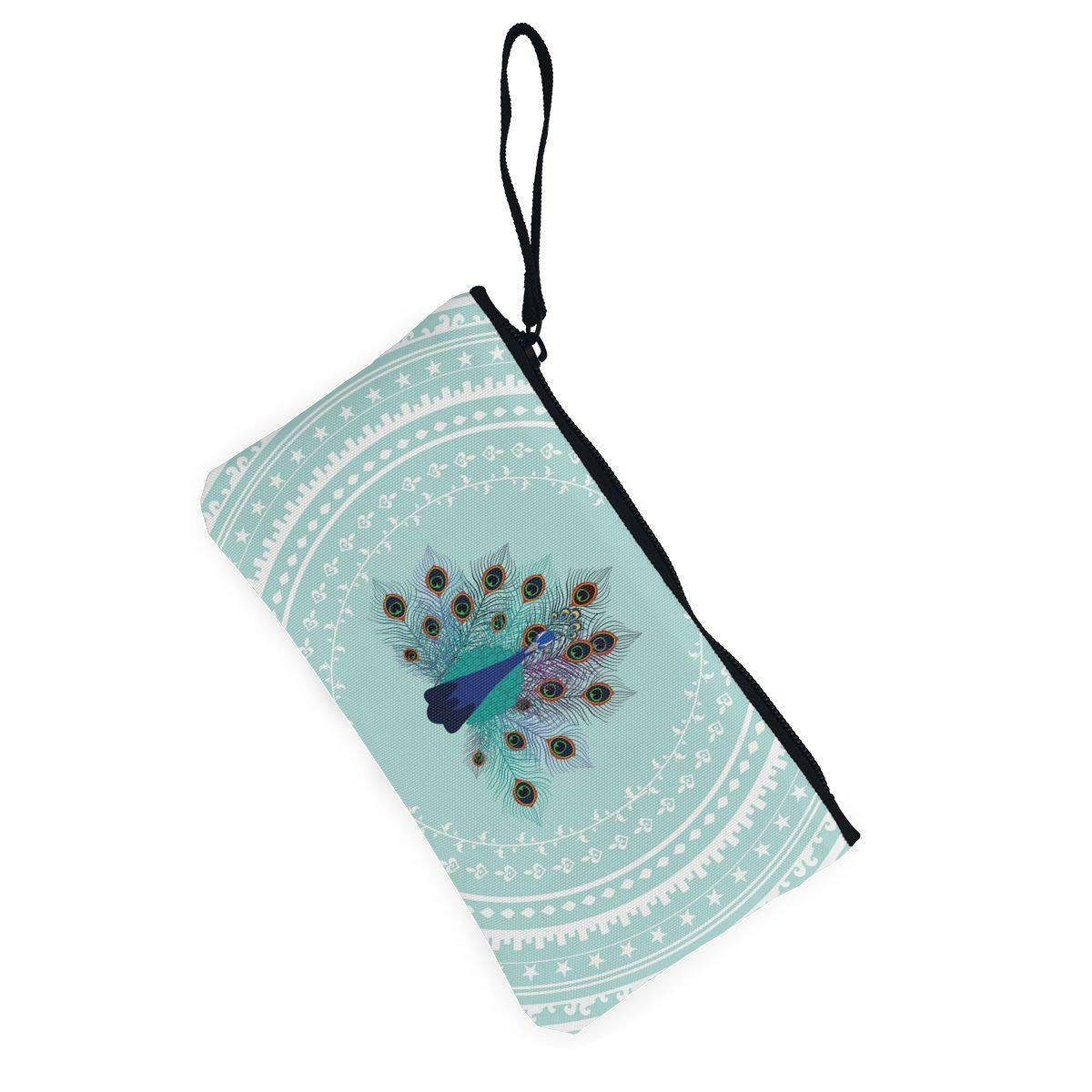 Maple Memories Peacock Animal Portable Canvas Coin Purse Change Purse Pouch Mini Wallet Gifts For Women Girls