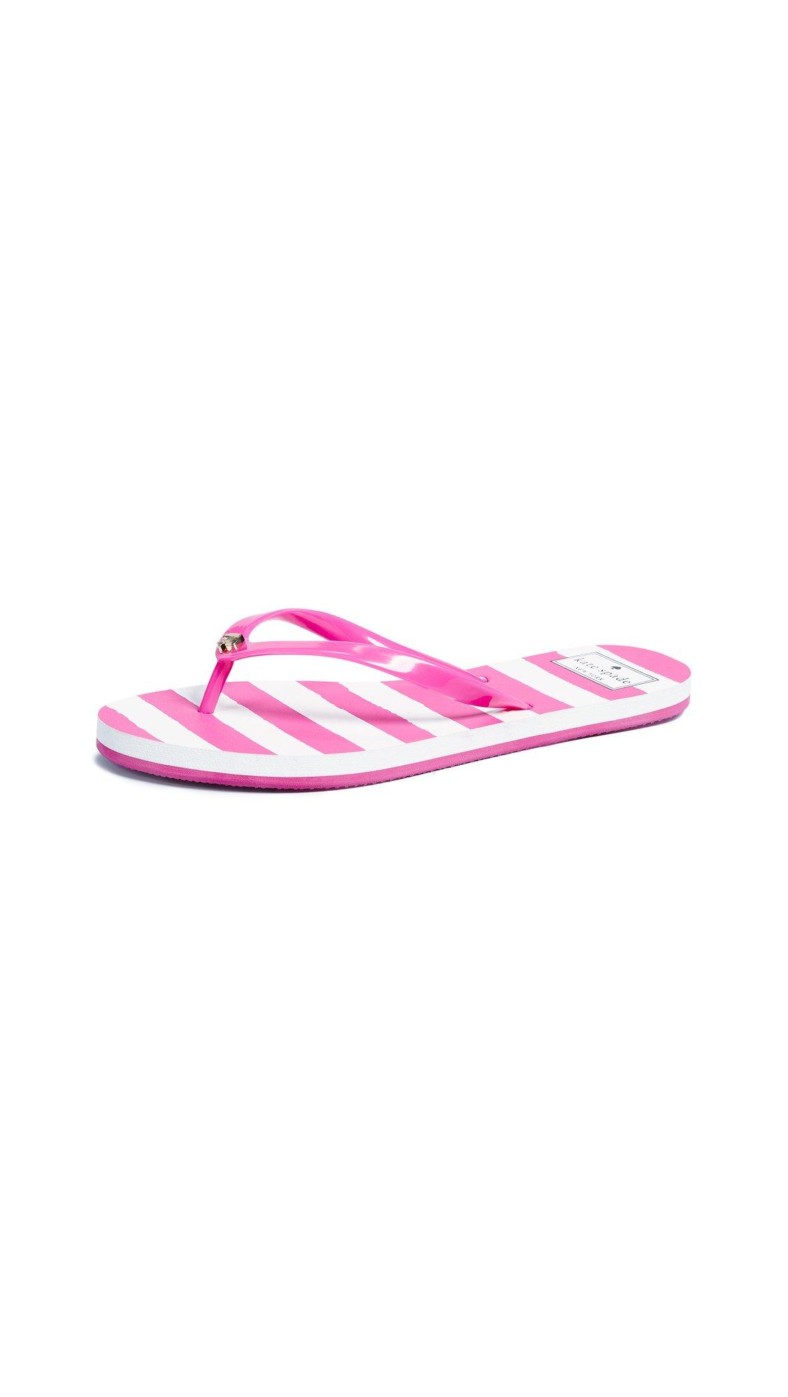 Kate Spade New York Women's Nassau Flip Flops, Pink/White Stripe, 8 M US