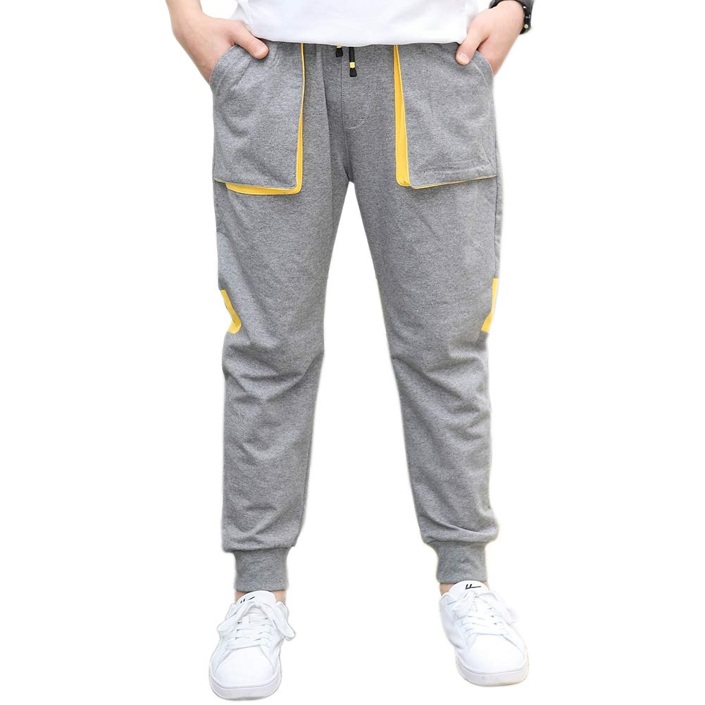 childdkivy Boys Slim Fit Jogger Pants Active Outwear Sweatpants 817 Gray 14T by childdkivy