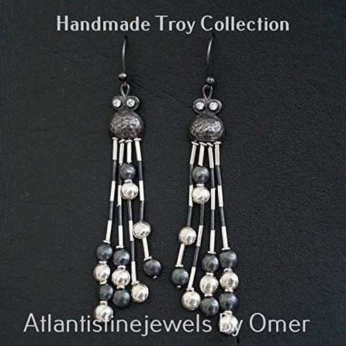 Troy Bead Earrings By Omer Oxidized Sterling Silver Handmade Turkish Jewelry (Turkish Silver Bead)