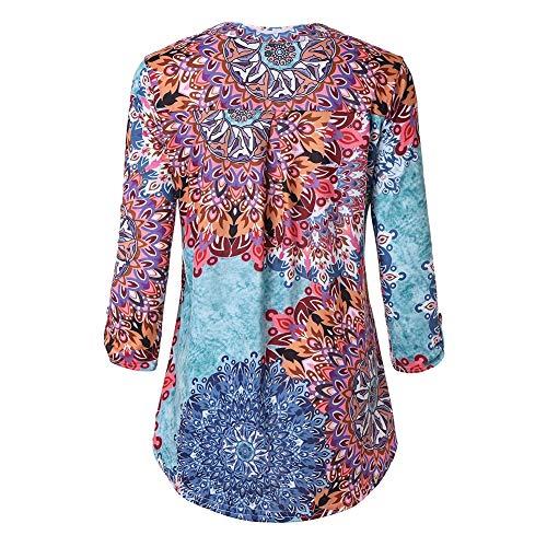 Femme Asymtrique Multicolore Longue pliss Col Lache Imprim V Cocohot Longues Shirt 2 Chemises Tunique Fleur Manches Blouse vRxZqWdwfn