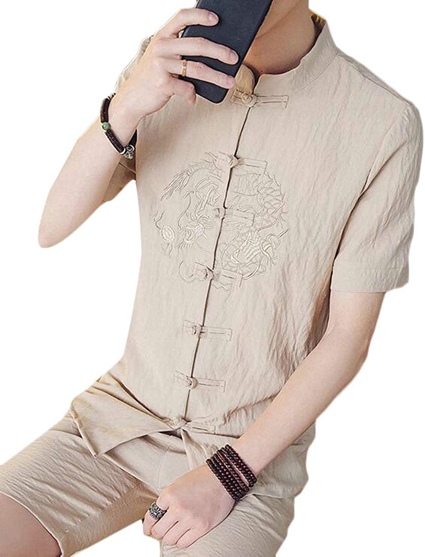 Fensajomon Mens Chinese-Style Solid Summer Embroidery Short Sleeve Shirt Blouse