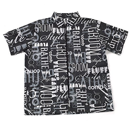 Top Performance Graffiti Print - BLACK GRAFFITI PRINT Style Grooming Jacket Groomer Apparel Zip Front Choose Size(Grooming Jacket - Small)