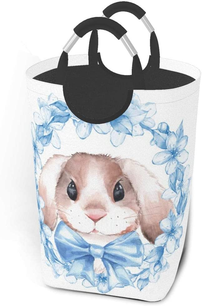 Collapsible Laundry Baskets Cute Rabbit Bunny Watercolor Bule Lily Flower Large Dirty Laundry Hamper Colapsable Collaspable Calaspable Fold Dorm Fabric Laundry Basket For Baby Girl Kids Clothes Camp T