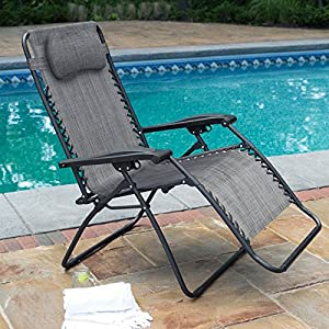 Premium Patio Chairs Zero Gravity Chair Caravan Canopy Lounge Outdoor  Folding Oversized Recliner Grey