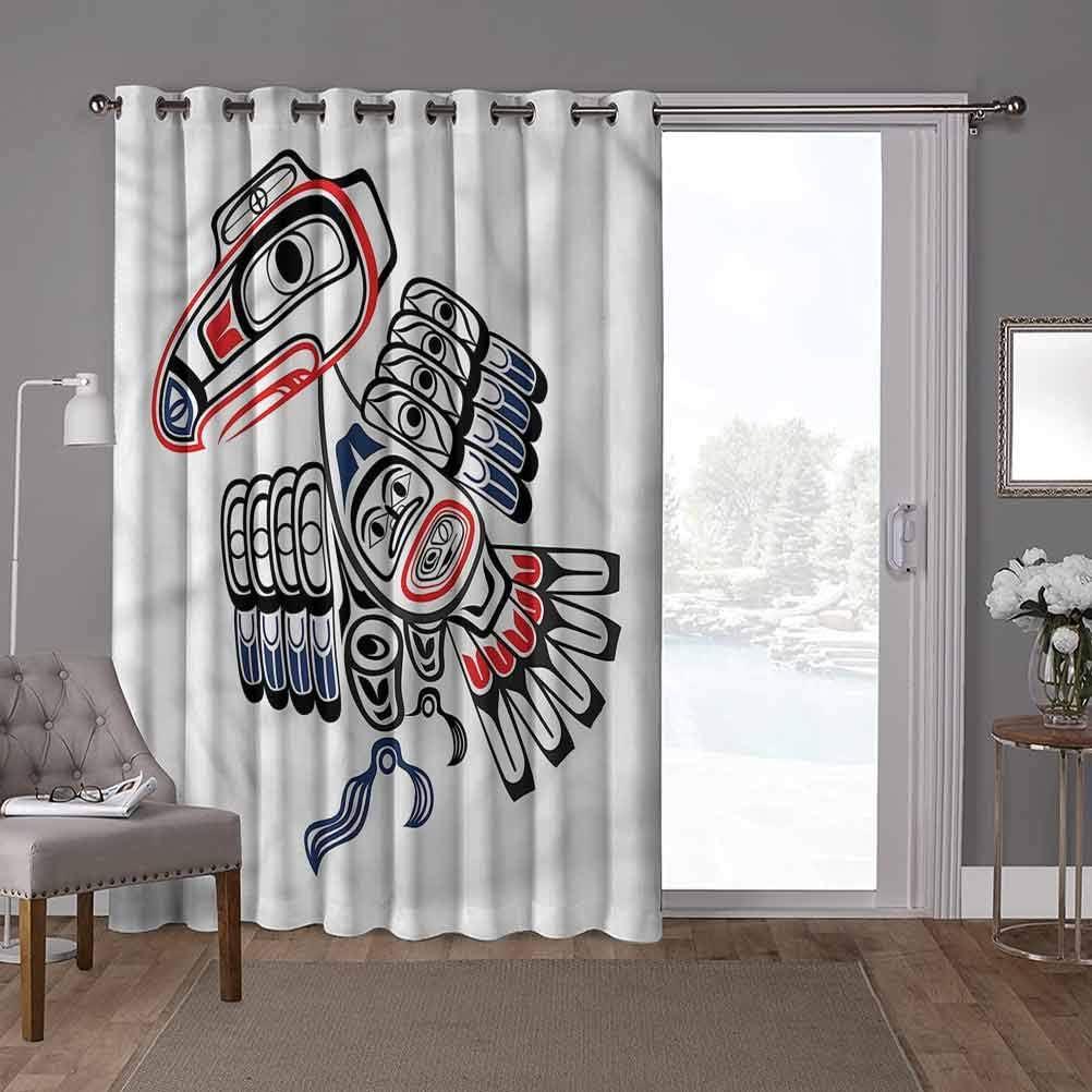 YUAZHOQI Patio Sliding Door Curtain, Raven,Canadian Tribal Culture, W52 x L84 Inch Decorative Room Divider(1 Panel)