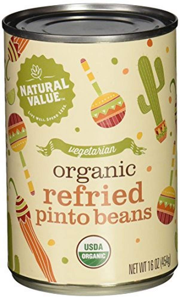 Natural Value Vegetarian Organic Refried Canned Pinto Beans, 16 Ounce (Pack of 12) by Natural Value