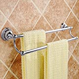 MUMENG Bathroom Towel Bar Double Towel Rail Wall Mounted Brushed Towel Rack Stainless Steel Ceramic Bathroom Accessory 26- inches