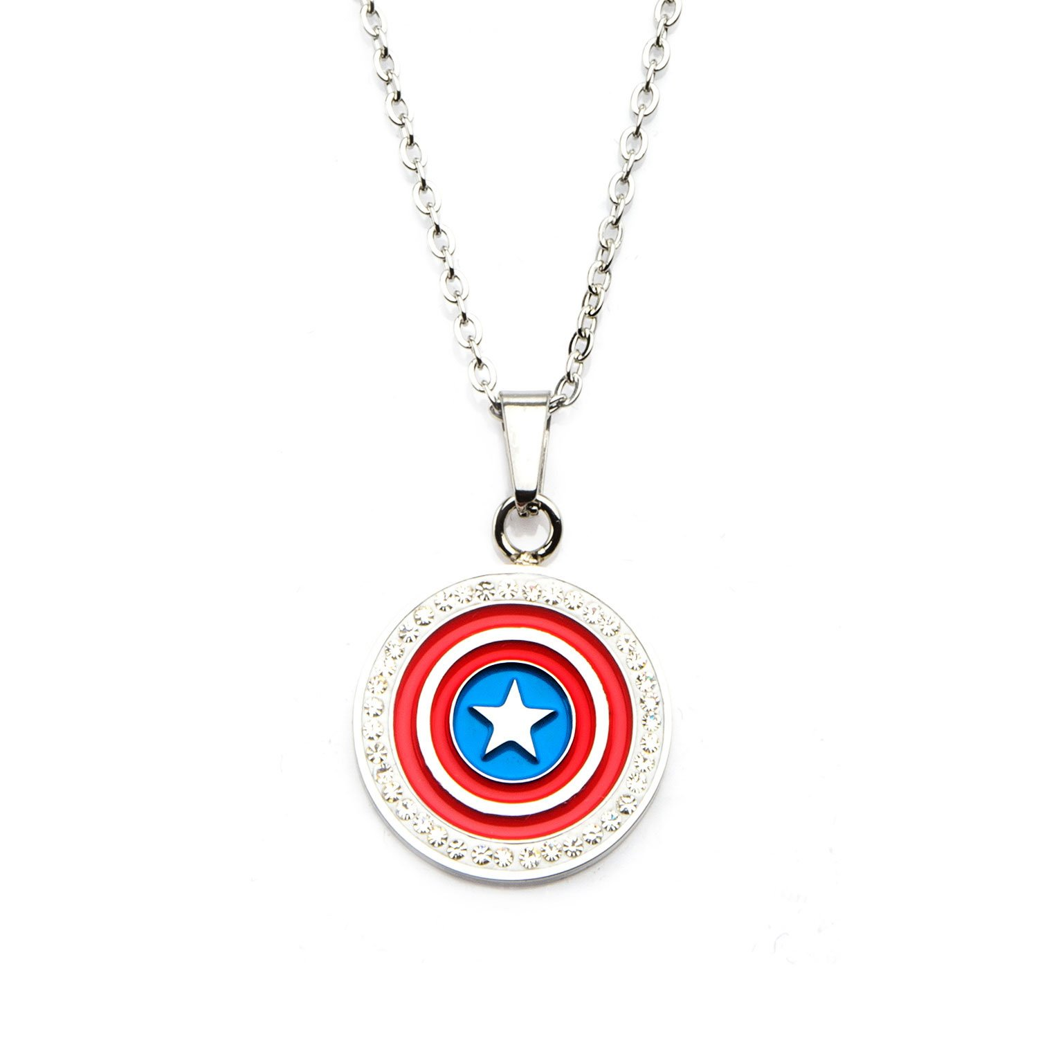Marvel Captain America Shield and Clear CZ Pendant Stainless Steel Necklace