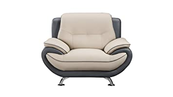 American Eagle Furniture Faux Leather Living Room Loveseat with Pillow Top Armrests, Light Dark Gray