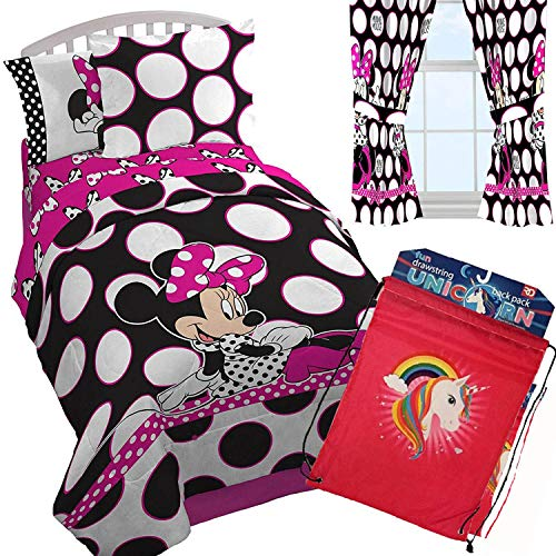 Minnie Mouse Pink and Black Polka Dots Comforter, One Sham, Sheet Set + One Window Curtain Set + One Backpack! (Full)