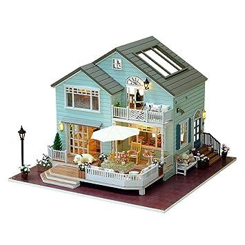 Casa de muñecas de madera para montar en casa de muñecas, casa de muñecas hecha
