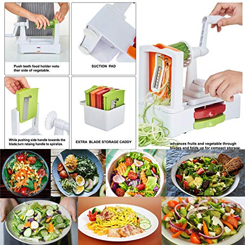 Spiralizer Vegetable Slicer 7-Blades, Strongest-and-Heaviest Duty Vegetable Spiral Slicer, Best Veggie Salad Pasta Spaghetti Maker for Keto/Paleo/Gluten-Free with Extra Blade Container by EAKON (Image #2)