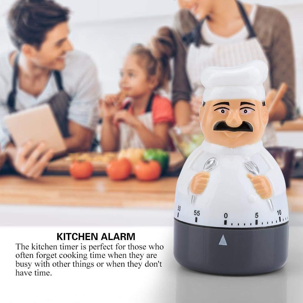 Nikou K/üchen-Timer Dial K/üchentimer Koch Alarm Analoguhr Bell for Chef-Werkzeug