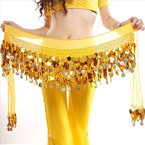 ESHOO Women Chiffon Belly Dance Hip Scarf Ruffled Coin Belt Skirt Hip Wrap (Egyptian Girl Sexy)