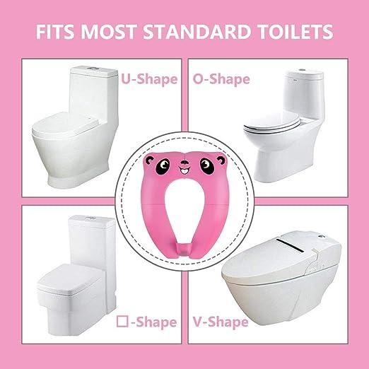 B/éb/é R/éducteur de Toilette RIGHTWELL Voyage Si/ège Pliable de Toilette Si/ège Pot Portable Pour Enfants B/éb/é Rose