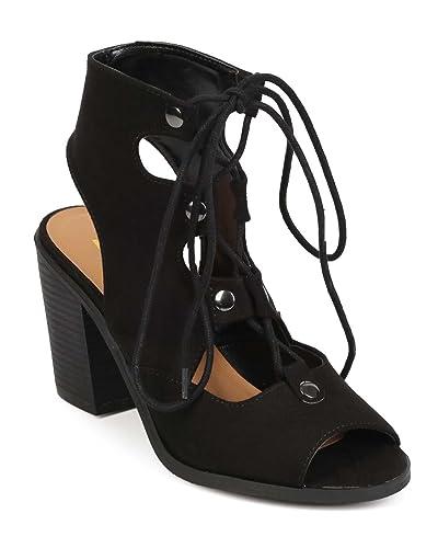 1b32d7782b5 Amazon.com   Women Suede Peep Toe Gilly Tie Block Heel Corset Sandal ...