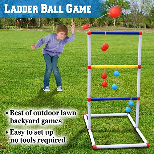BenefitUSA Ladder Toss Game Set Golf Backyard Family Games with 6 Bolos Kids Child Sports Ladderball Adults by BenefitUSA