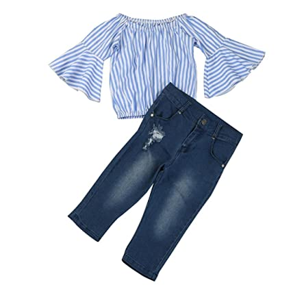 c0a153917 Amazon.com: HOT!!Woaills Off Shoulder Stripe T Shirt Top Jeans Pants Outfit  Cotton Clothes Set - 1-7 Years Old Toddler Baby Girl (Blue, 6T)