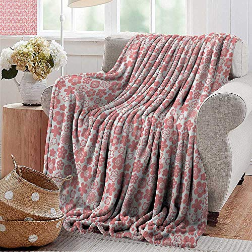 Throw Blankets Fleece Blanket,Cherry Blossom,Spring Nature Inspired Doodle Style Gardening Plants Far Eastern Culture, Coral White,300GSM, Super Soft and Warm, Durable 30