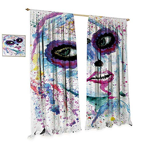 Anniutwo Girls Window Curtain Drape Grunge Halloween Lady with Sugar Skull Make Up Creepy Dead Face Gothic Woman Artsy Decorative Curtains for Living Room W108 x L84 Blue Purple -